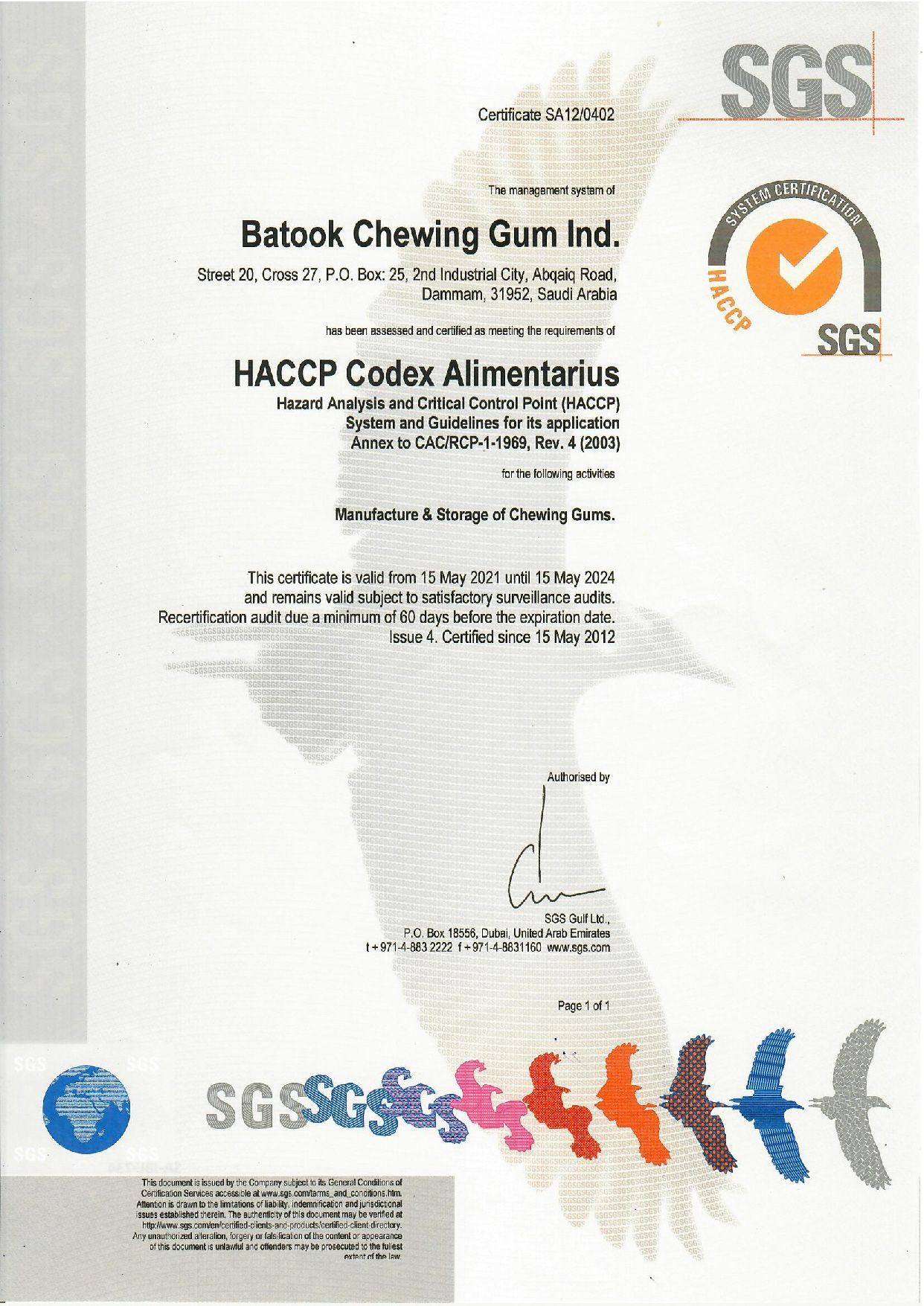 HACCP Certificate 2021